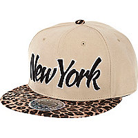 Khaki New York leopard print peak trucker hat