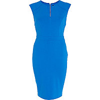 Blue cap sleeve bodycon dress