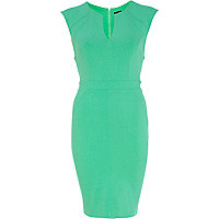 Green cap sleeve bodycon dress