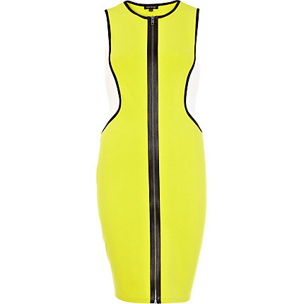 Lime colour block racer front tube dress