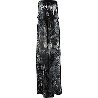Black tie dye bandeau maxi dress