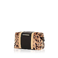 Brown leopard print colour block make up bag