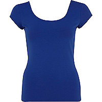 Blue cap sleeve ballerina top