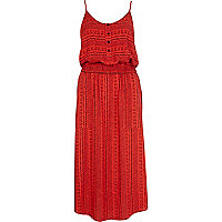 Red tribal print button through midi dress