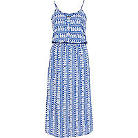 Blue tribal print button through midi dress
