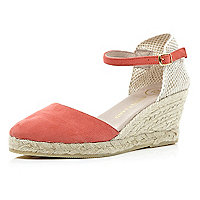 Orange two-part espadrille wedges
