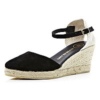 Black two-part espadrille wedges