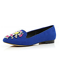 Blue gem stone embellished slipper shoes