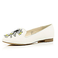White gem stone embellished slipper shoes