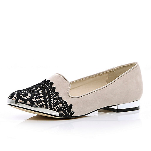 Beige lace toe cap slipper shoes