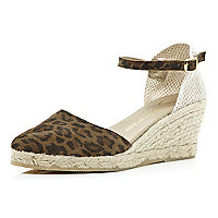 Brown leopard two-part espadrille wedges