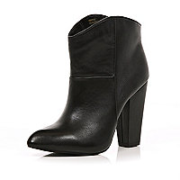 Black chunky heel western ankle boots