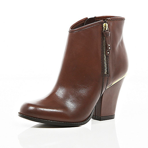 Brown smart western ankle boots