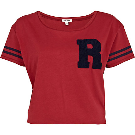 Red towelling R print cropped t-shirt