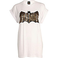 White studded Batman oversized t-shirt