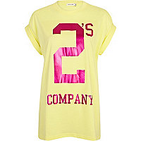 Yellow 2's company print oversized t-shirt