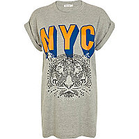 Grey NYC tiger print oversized t-shirt