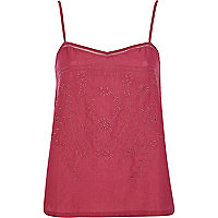 Red embroidered woven front cami top