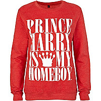 Red home boy print sweatshirt