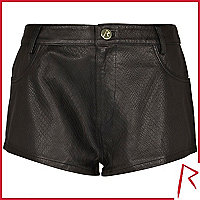 Black Rihanna snake embossed leather shorts