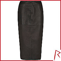 Black Rihanna snake embossed leather skirt