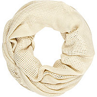 Cream gauze laddered snood