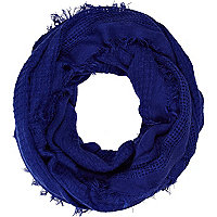 Dark blue gauze laddered scarf