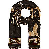 Black lurex oversized tiger scarf