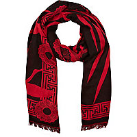 Red lurex oversized tiger print scarf