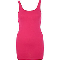 Dark pink scoop neck longline vest