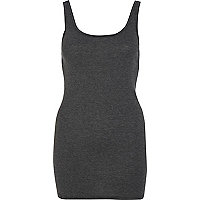 Dark grey scoop neck longline vest