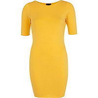 Yellow half sleeve mini column dress