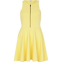 Yellow zip front skater dress