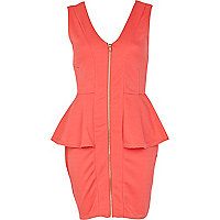 Coral zip front peplum dress