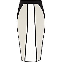 Black colour block pencil skirt