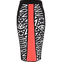 Black print colour block pencil skirt