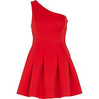 Red one shoulder scuba dress