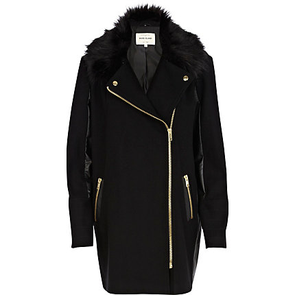 Black faux fur collar contrast biker coat