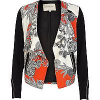 Red floral print waterfall biker jacket