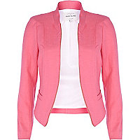 Pink structured cropped blazer