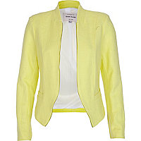 Yellow structured cropped blazer