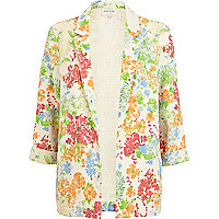 Cream 3/4 sleeve floral blazer