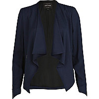 Navy waterfall biker jacket