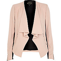Light pink waterfall biker jacket
