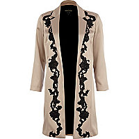 Beige lace applique duster coat