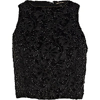 Black devore embellished high neck crop top