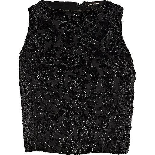 Black devore embellished high neck crop top