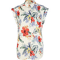 Cream Hawaiian print sleeveless shirt