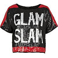 Black glam slam sequin cropped t-shirt
