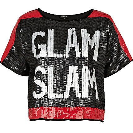 Black glam slam sequin cropped t-shirt
